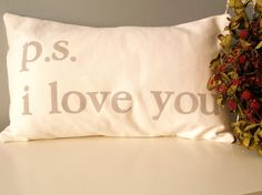 ps  i love you  Hand Stamped Lumbar Pillow Cover by JoshuaByOak, $38.00