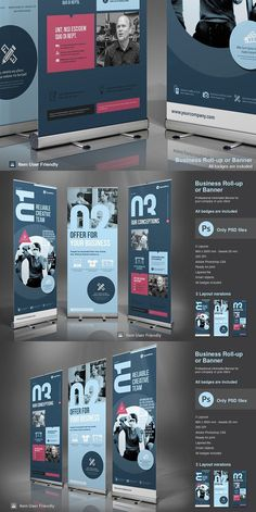 PSD Business Roll-Up Banner. Modern and clean design for banner/rollup. Rollup Design, Rollup Banner Design, Bunting Design, Banner Stand Design, Signage Design, Brochure Design, Standing Banner Design, Standee Design, Pop Up Banner
