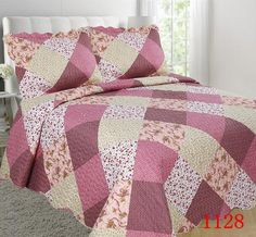 Quilted Floral Bed Sheets and Pillow Covers - Patchwork Design