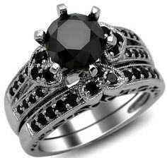 2 42ct Round Black Diamond Engagement Ring Heart Wedding Set 14k Gold