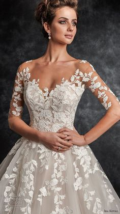 ira koval 2017 bridal half sleeves sweetheart neckline heavily embellished lace bodice tulle skirt romantic a line wedding dress sheer button back chapel train (615) zv