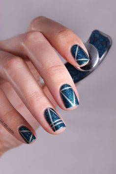 Blue Nails with Sliver Lines via