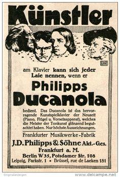 Original-Werbung/Inserat/ Anzeige 1912 - PHILIPPS DUCANOLA KLAVIER ca. 130 X 90 mm