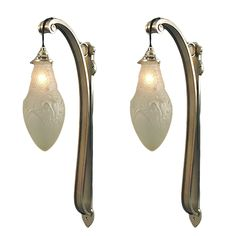 Extraordinary & Unusual French Art Deco Wall Sconces in Nickel