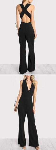 Crisscross Back Flare Hem Jumpsuit Cool Outfits, Summer Outfits, Casual Outfits, Hijab Style, Swagg, Jumpsuits For Women, African Fashion, Passion For Fashion, Dress To Impress