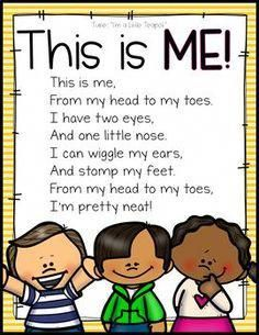 preschool songs all about me theme Kindergarten Poems, Preschool Poems, Kids Poems, Preschool Music, Preschool Lessons, Preschool Learning, Preschool About Me, Preschool Family Theme, Spring Preschool Songs