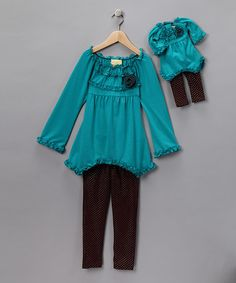 #zulily #fall  Take a look at this Teal Tunic & Leggings & Doll Outfit - Girls by Blow-Out on #zulily today!