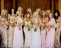 Blush And Gold Bridesmaid Dresses