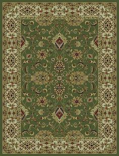 828 Rhine Collection RH01 GR Green with Ivory Border Area Rug