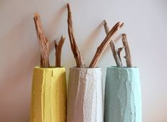 Trio of Vases / Instant collection / Pastel Home Decor / made to order/ set of 3 / yellow, grey, and mint vases. $35.00, via Etsy.