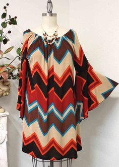 Free Shipping Exclusive and limited edition Missoni print Chevron print Plus size tunic top on Etsy, $39.00