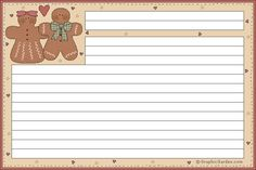 Gingerbread recipe card, The size of this card is approx. Print either on heavy paper, or print on regular paper and then glue them onto thicker paper, such as cardboard. Family Recipe Book, Recipe Books, Scrapbook Recipe Book, Canning Labels, Canning Recipes, Printable Lined Paper, Recipe Paper, Free Christmas Printables, Free Printables