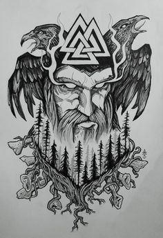 Old Norse Odin tattoo design Made this symbolic design to represent God Odin and nordic forest, with huginn and munninn. Old Norse Odin tattoo design Made this symbolic design to represent God Odin and nordic forest, with huginn and munninn. Odin Symbol, Viking Tattoo Symbol, Viking Tattoo Design, Tattoo Symbols, Tattoo Celtic, Warrior Symbol Tattoo, Art Viking, Rune Viking, Viking Symbols