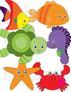 sea creatures fish turtle sea horse crab starfish
