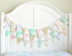 Bunting Garland / Pink and Mint Baby Shower / Pink and Mint