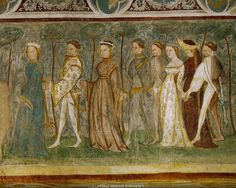 """The ladies dance a roundelay,a medieval dance, typical of life at court,in one of the murals of the knights' hall in Runkelstein castle,South Tyrol, Italy.Right,in dark dress,Margarete Maultasch (""""satchel-mouth""""), countess and ruler of Tyrol (1318-1369). Runkelstein castle, Bolzano(Bozen), Italyhttp://www.lessing-photo.com/p3/160104/16010419.jpg"""
