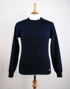Armor-Lux Striped Breton Knitted Jumper - Navy Blue Marine / Black