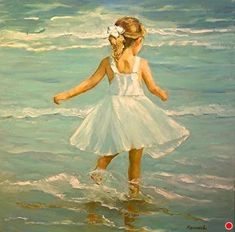 Beach Dancer by JOYCE NORWOOD Oil ~ 36 x 36 Watercolor Art, Painting Gallery, Beach Painting, Painting People, Art, Beach Art, Canvas Art Painting, Seascape Paintings, Diy Canvas Art
