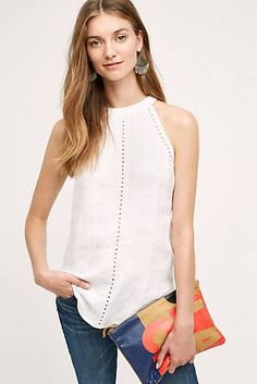 NWT Anthropologie Linen Ladder Lace Tank by Cloth & Stone size XL Off The Shoulder Tee, Fall Capsule Wardrobe, Long Skirts For Women, Blouse Outfit, Lace Tank, Ideias Fashion, Fashion Ideas, Women's Fashion, T Shirt