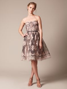 Woven Lace Embroidered Bustier Dress