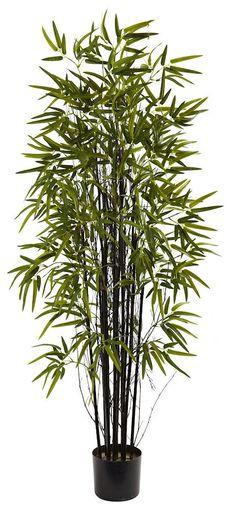 Black Bamboo Artificial Tree with Nursery Planter | 5 feet