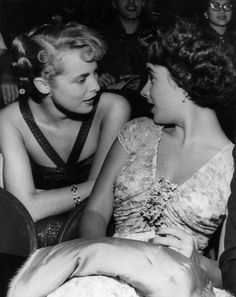 Elizabeth Taylor and Janet Leigh at Ciro's