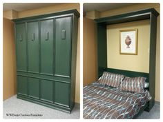 Murphy bed (green) - Timber Trails: Turnkey tiny house, cabin kits, and custom cottage designs built of super-efficient, affordable, and easy-to-finish structural insulated panels (SIPs). Go to >> TimberTrails.TV
