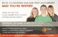 Fluid Isometrics is celebrating the one year anniversary of the launch of Block Therapy with a FREE Client Appreciation Party and the MEDIA IS INVITED Wellness Company, 1 Year Anniversary, First Year, Youre Invited, Health And Wellness, Appreciation, Scotland, Therapy, Invitations