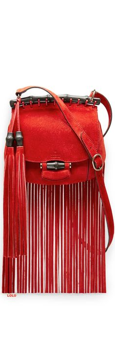 Gucci red suede fringe handbag