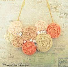 Coral Ombré Statement Necklace, Rosette Statment Necklace, Coral & Gold Necklace, Rolled Rosetted Bib Necklace, Summer Fashion