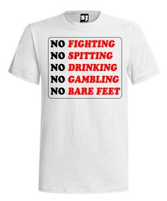 No Fighting No Spitting No Drinking No Gambling No Bare Feet. From the World's Greatest Golf Movie. Follow the Rules or your OUT! Light Grey t-shirt with Black and Red Logo. High Quality 50% polyester, 25% combed and ringspun cotton, 25% rayon. 100% soft and comfortable