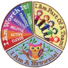 I Am, Brownie, Owl, Toadstool, Patch, Embroidered Patch, Merit Badge, Badge, Emblem, Iron On, Iron-On, Crest, Lapel Pin, Insignia, Girl Scouts, Boy Scouts, Girl Guides