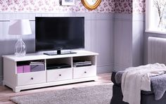 LIATORP white TV bench with open back that allows you to organise all wires