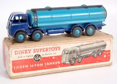 Dinky #504 Foden type 1, 14-ton tanker, dark blue cab and chassis, blue tank and hubs, silver flash