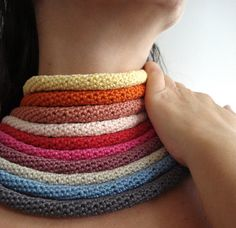 Crochet tube necklace  Going tribal by sewella on Etsy, $6.00