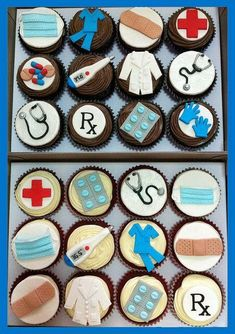Stuff Cupcakes doctor nurse cupcakes - I'm thinking of one person and her final graduation.doctor nurse cupcakes - I'm thinking of one person and her final graduation. Nurse Cupcakes, Graduation Cupcakes, Cupcake Cakes, Medical Cake, Doctor Cake, Nurse Party, Fondant Toppers, Grad Parties, Cookie Decorating