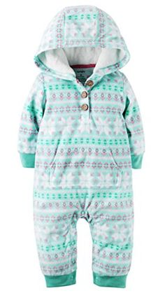 Carters Girl's Fleece Hooded Two Pocket Bodysuit Romper Fair Isle Aqua Print). Nickel-free snaps at the legs. Velboa-lined hood. Cute Girl Outfits, Cute Outfits For Kids, Carters Baby Girl, Baby Girls, Girls Dress Up, Girls Fleece, Little Girl Fashion, New Baby Products, Rompers