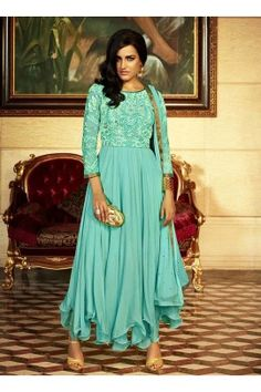 khwaab imperial  georgette fabric & dimond work designer suit-2111