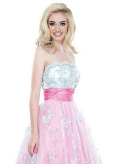 This pink and silver ballgown is UNBELIEVABLE! Try it on now at Emmy's! Johnathan Kayne 336