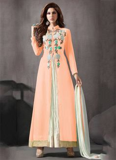 Buy Peach color georgette palazzo party wear anarkali suit at kollybollyethnics with free worldwide shipping.