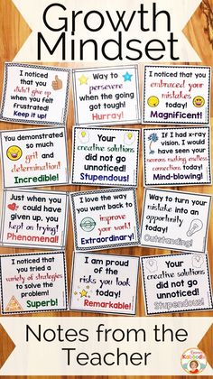 Do you teach your students about growth mindset? These notes from the teacher are the perfect complement to my other growth mindset products, including affirmation posters, flip books, and a growth mindset privacy office! Easy to use for teachers and ver Social Emotional Learning, Social Skills, Teaching Strategies, Teaching Tips, Student Teaching, Classe Dojo, Material Didático, School Counseling, School Classroom