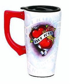 FULL COLOR  14 oz. CERAMIC TRAVEL MUG -  TRUE LOVE AND HEARTS DESIGN