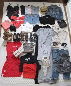"""What's in my 7 days suitcase: 1- SWIMWEAR one swimsuit, two bikinis 2- T-SHIRTS 3- SUN HAT 4- COVER-UP 5- SKIRT 6- SUMMER CARDIGAN 7- SARONG 8- BEACH COVER UP 9- SIGHTSEEING BAG 10- MAXI DRESS 11- CHINO'S (my """"in case it's cold"""" trouser) 12- SHOES 13- THE DRESS ME UP/DOWN DRESS 14- EVENING BAG 15- DAY DRESS 16- BEACH BAG 17- BELTS 18- STATEMENT DRESS 19- DRESSY PANTS 20- SUMMER SCARF 21- JEANS 22- HOODIE"""
