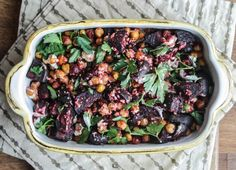 Roasted Beets and Chickpeas with Tahini Sauce | Dishing Up the Dirt