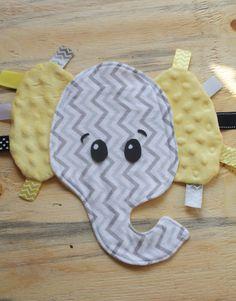 Elephant Gray Chevron lovie with yellow minky dot ears