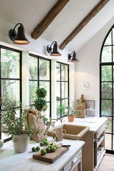 Black Steel Windows Flush with Kitchen Countertop - Jill Sharp Interiors