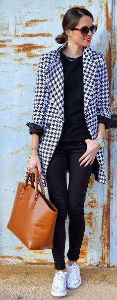 Black And White Houndstooth Coat by Look For Time