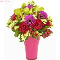 Exotic fantasy Deluxe - Orhidee, trandafiri si gerbera Exotic, Floral Wreath, Bouquet, Wreaths, Fantasy, Decor, Floral Crown, Decoration, Door Wreaths