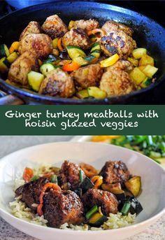 Ginger turkey meatballs with hoisin glazed zucchini + peppers