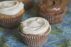 Banana Cupcakes with Swirled Frosting Two Ways | The Baker Chick Peanut butter frosting or cinnamon
